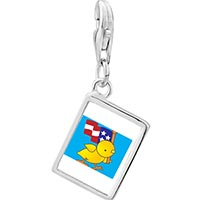 Link Charm Bracelet - 925  sterling silver cute duck with american flag photo rectangle frame link charm Image.