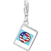 Link Charm Bracelet - 925  sterling silver american flag donut photo rectangle frame link charm Image.