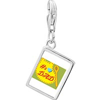 Link Charm Bracelet - 925  sterling silver number 1  dad photo rectangle frame link charm Image.