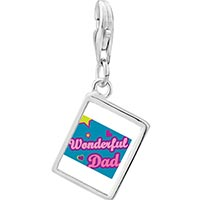 Link Charm Bracelet - 925  sterling silver wonderful dad photo rectangle frame link charm Image.