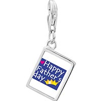 Link Charm Bracelet - 925  sterling silver happy father' s day photo rectangle frame link charm Image.