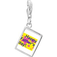 Link Charm Bracelet - 925  sterling silver happy father' s day star photo rectangle frame link charm Image.
