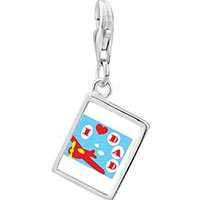 Link Charm Bracelet - 925  sterling silver i love dad photo rectangle frame link charm Image.
