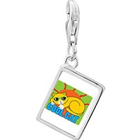 Link Charm Bracelet - 925  sterling silver cool cat photo rectangle frame link charm Image.