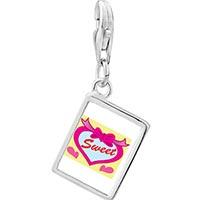 Link Charm Bracelet - 925  sterling silver sweet hearts photo rectangle frame link charm Image.