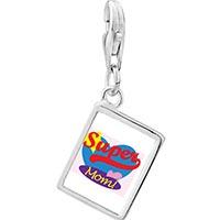Link Charm Bracelet - 925  sterling silver super mom heart photo rectangle frame link charm Image.