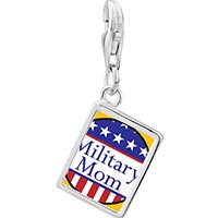 Link Charm Bracelet - 925  sterling silver american military mom photo rectangle frame link charm Image.