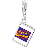 Link Charm Bracelet - 925  sterling silver proud grandma photo rectangle frame link charm Image.