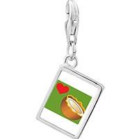 Link Charm Bracelet - 925  sterling silver heart coconut photo rectangle frame link charm Image.