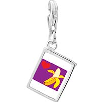 Link Charm Bracelet - 925  sterling silver heart banana photo rectangle frame link charm Image.