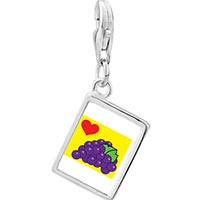 Link Charm Bracelet - 925  sterling silver heart grapes photo rectangle frame link charm Image.