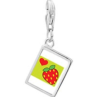 Link Charm Bracelet - 925  sterling silver heart strawberry photo rectangle frame link charm Image.