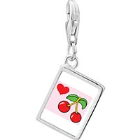 Link Charm Bracelet - 925  sterling silver heart cherries photo rectangle frame link charm Image.