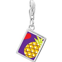 Link Charm Bracelet - 925  sterling silver heart pineapple photo rectangle frame link charm Image.
