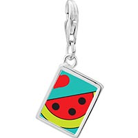 Link Charm Bracelet - 925  sterling silver heart watermelon photo rectangle frame link charm Image.