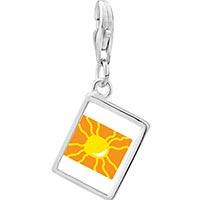 Link Charm Bracelet - 925  sterling silver bright yellow sun photo rectangle frame link charm Image.
