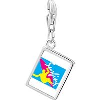 Link Charm Bracelet - 925  sterling silver guy surfing yellow photo rectangle frame link charm Image.