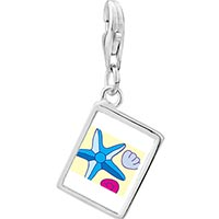 Link Charm Bracelet - 925  sterling silver starfish and seashells on beach photo rectangle frame link charm Image.