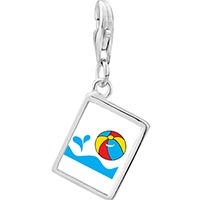 Link Charm Bracelet - 925  sterling silver beach ball photo rectangle frame link charm Image.