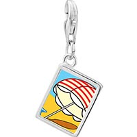 Link Charm Bracelet - 925  sterling silver beach umbrella photo rectangle frame link charm Image.