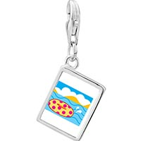 Link Charm Bracelet - 925  sterling silver donut in water photo rectangle frame link charm Image.