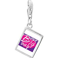 Link Charm Bracelet - 925  sterling silver our big day heart photo rectangle frame link charm Image.