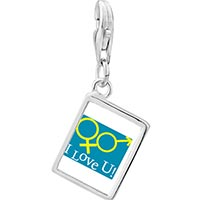 Link Charm Bracelet - 925  sterling silver i love you couple photo rectangle frame link charm Image.