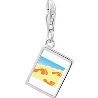 Link Charm Bracelet - 925  sterling silver footprints in the sand photo rectangle frame link charm Image.