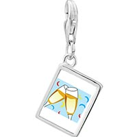 Link Charm Bracelet - 925  sterling silver champagne celebration party photo rectangle frame link charm Image.