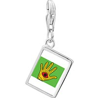 Link Charm Bracelet - 925  sterling silver wooden hand craftwork photo rectangle frame link charm Image.