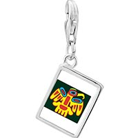 Link Charm Bracelet - 925  sterling silver multicolored artistic bird photo rectangle frame link charm Image.