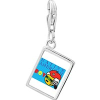 Link Charm Bracelet - 925  sterling silver native american boy photo rectangle frame link charm Image.