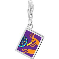 Link Charm Bracelet - 925  sterling silver kokopelli dance photo rectangle frame link charm Image.