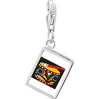 Link Charm Bracelet - 925  sterling silver native american drum photo rectangle frame link charm Image.