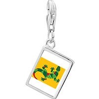 Link Charm Bracelet - 925  sterling silver creative native american lizard photo rectangle frame link charm Image.