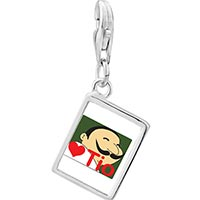 Link Charm Bracelet - 925  sterling silver tio heart person photo rectangle frame link charm Image.