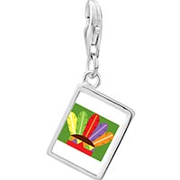 Link Charm Bracelet - 925  sterling silver colorful feathers photo rectangle frame link charm Image.