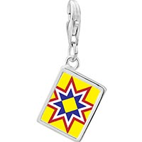 Link Charm Bracelet - 925  sterling silver multicolored star photo rectangle frame link charm Image.