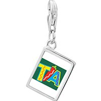 Link Charm Bracelet - 925  sterling silver tia with chili pepper photo rectangle frame link charm Image.