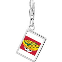 Link Charm Bracelet - 925  sterling silver mexican corn photo rectangle frame link charm Image.