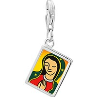 Link Charm Bracelet - 925  sterling silver our lady of guadalupe photo rectangle frame link charm Image.
