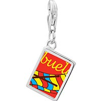 Link Charm Bracelet - 925  sterling silver abuela sewing work photo rectangle frame link charm Image.