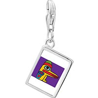Link Charm Bracelet - 925  sterling silver wooden bird craftwork photo rectangle frame link charm Image.