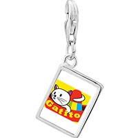 Link Charm Bracelet - 925  sterling silver small cat kitten gatito photo rectangle frame link charm Image.