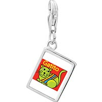 Link Charm Bracelet - 925  sterling silver green colorful cat gatito photo rectangle frame link charm Image.