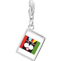 Link Charm Bracelet - 925  sterling silver colorful artistic cat photo rectangle frame link charm Image.