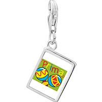 Link Charm Bracelet - 925  sterling silver colorful music prima cousin photo rectangle frame link charm Image.