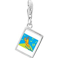 Link Charm Bracelet - 925  sterling silver singing chirping bird photo rectangle frame link charm Image.
