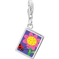 Link Charm Bracelet - 925  sterling silver ladybug flower photo rectangle frame link charm Image.