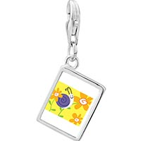 Link Charm Bracelet - 925  sterling silver happy flower snail photo rectangle frame link charm Image.